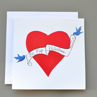Tattoo Style Heart Be My Valentine's Card