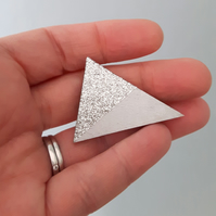 Silver Glitter Wooden Triangle Geometric Brooch
