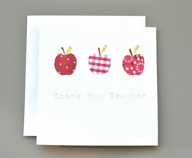 Thank you Teacher Card with Red Apples