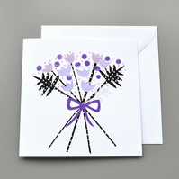 Purple Bouquet Blank or  Birthday Card