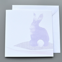 Pastel Bunny Rabbit Easter Card or Blank Card