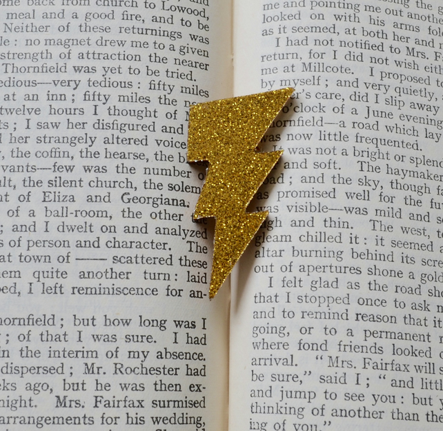 Gold Glitter Lightning Bolt Brooch