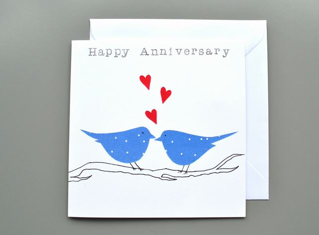 Anniversary Card with Two Blue Birds on Branch
