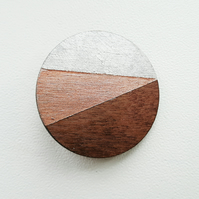 Geometric Circle Brooch in Walnut Wood with Silver and Copper Leaf