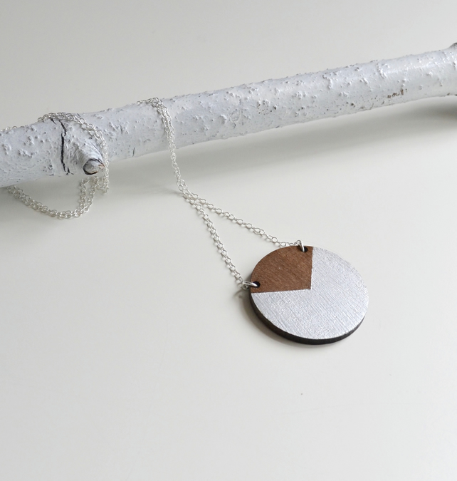 Circle Necklace in Walnut Wood and Silver with Long Chain