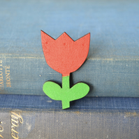 Wooden Tulip Brooch - Red