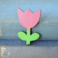 Wooden Tulip Brooch - Dark Pink
