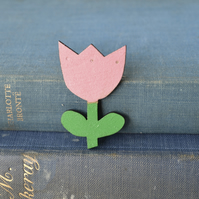 Wooden Tulip Brooch - Light Pink