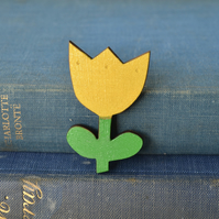 Wooden Tulip Brooch - Yellow