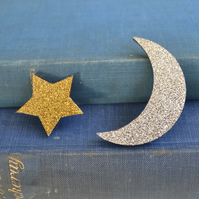 Crescent Moon and Star Brooch Set