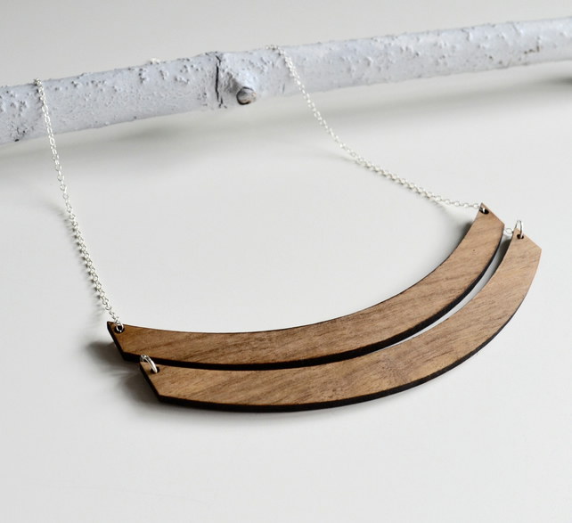 Double Arc Wooden Necklace