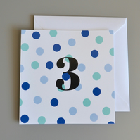 3rd Birthday Card for Boy, Age Three, Third Birthday