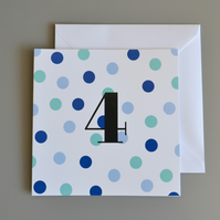 4th Birthday Card for Boy, Age Four, Fourth Birthday