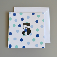5th Birthday Card for Boy, Age Five, Fifth Birthday Card