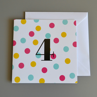 4th Birthday Card for Girl, Age Four, Fourth Birthday Card