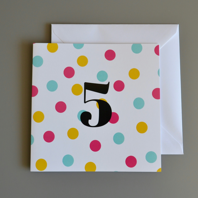 5th Birthday Card for Girl, Age Five, Fifth Birthday Card