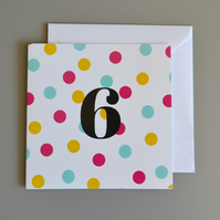 6th Birthday Card for Girl, Age Five, Fifth Birthday Card
