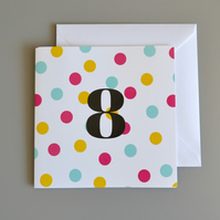 8th Birthday Card for Girl, Age Eight, Eighth Birthday Card