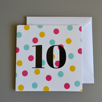 10th Birthday Card for Girl, Age Ten, Tenth Birthday Card
