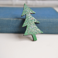 Christmas Tree Wooden Sparkly Brooch