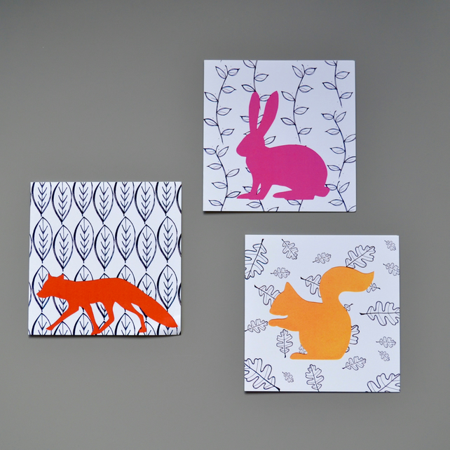 Multipack of three woodland animal blank cards on black and white leaf-design