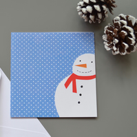 Snowman Christmas Card with Blue Spotty Background