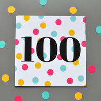100th Birthday Card for Her - 100 - One Hundred - Hundredth Birthday Card