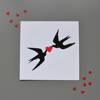 Swallows with heart anniversary or Valentine's Card