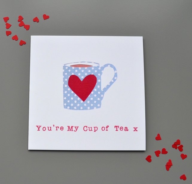 You're My Cup of Tea Blue Spot Mug with heart Valentine's or anniversary card