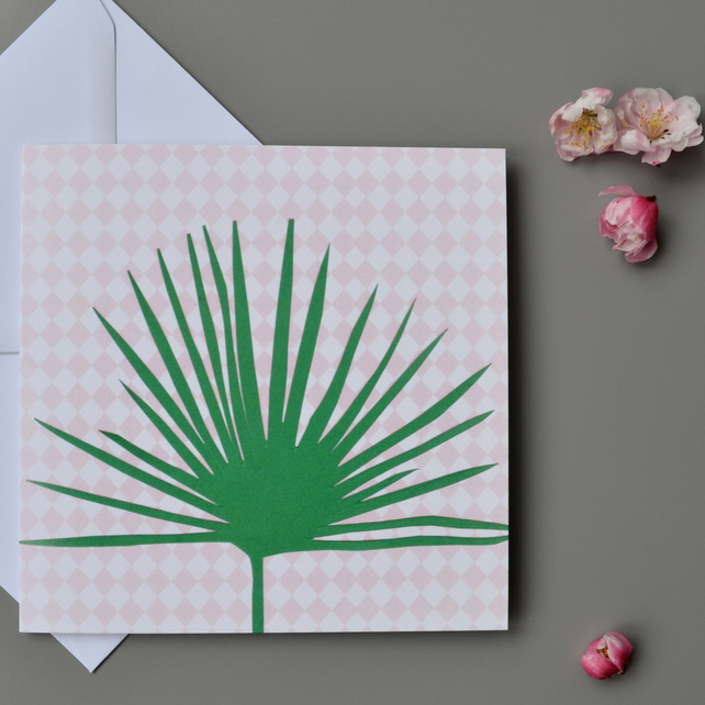 Fan Palm Blank Card - Plant Lovers Blank Card - Palm Leaf Birthday Card