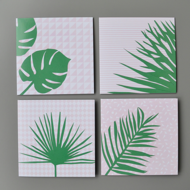 Multi buy Four Tropical Leaves Plants on Pink Blank Cards