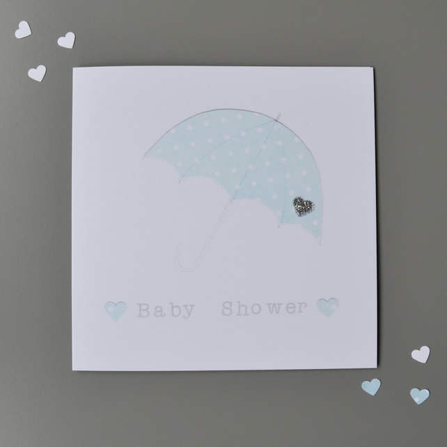 Baby Shower Card with Blue Umbrella  - Boy Baby Shower Card