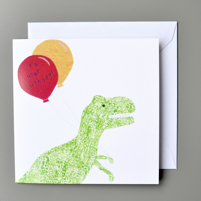 Dinosaur with Balloons Birthday Card - T-Rex Birthday Card - Kids Birthday Card
