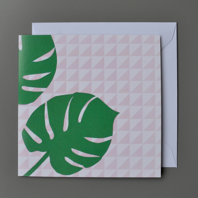 Monstera Plant Card - Swiss Cheese Plant Card - Plant Lovers Blank Card