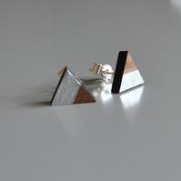 Wooden Triangle Ear Studs with Silver Leaf