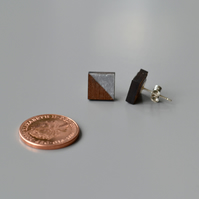 Wooden Square Ear Studs with Silver Leaf