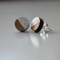 Wooden Circle Ear Studs Wood Earring with Silver Leaf