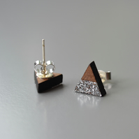Wooden Triangle Ear Studs with Silver Glitter Stripe