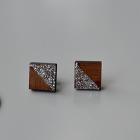 Wooden Square Ear Studs with Silver Glitter