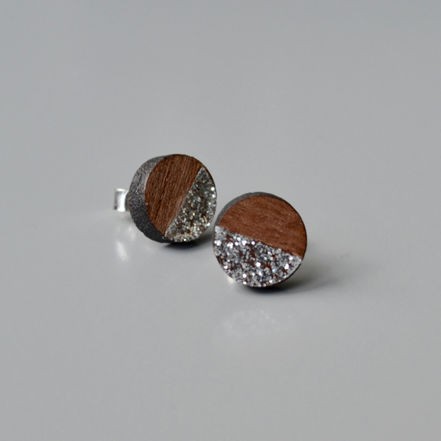 Wooden Circle Ear Studs with Silver Glitter