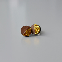 Wooden Circle Ear Studs with Gold Glitter