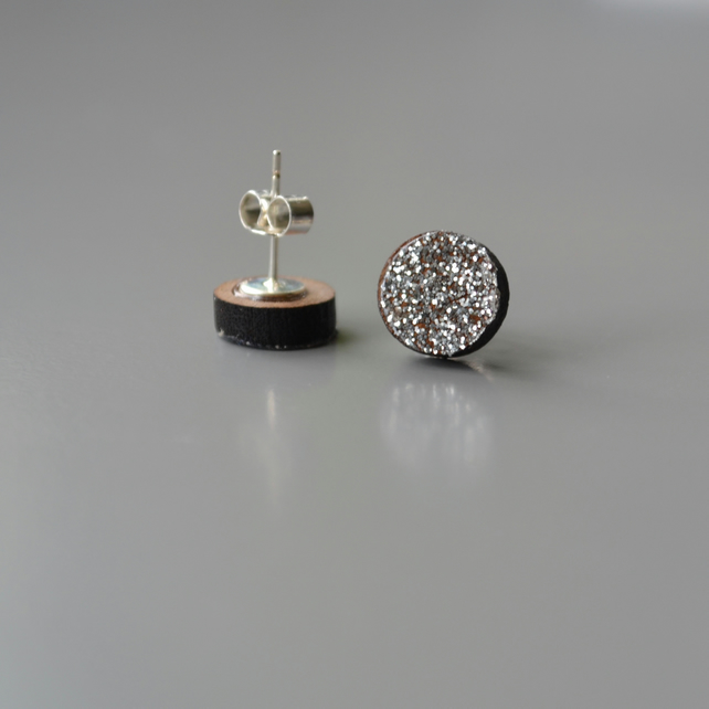 Silver Glittery Wooden Circle Ear Studs
