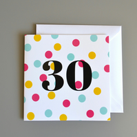 30th Birthday Card for Her - 30 - Thirty - Thirtieth Birthday Card