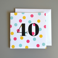 40th Birthday Card for Her -40 - Forty - Fortieth Birthday Card