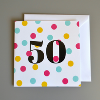 50th Birthday Card for Her -50 -Fifty - Fiftieth Birthday Card
