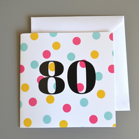 80th Birthday Card for Her - 80 - Eighty - Eightieth Birthday Card