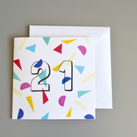 Confetti 21st Birthday Card