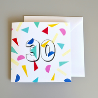 Confetti 30th Birthday Card