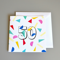 Confetti 50th Birthday Card