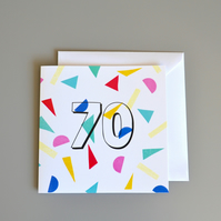 Confetti 70th Birthday Card